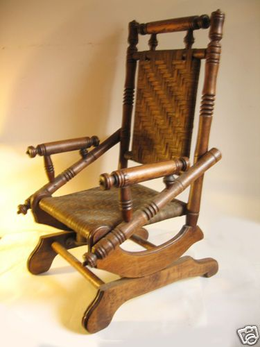 Antique Walnut Child S Platform Rocker Rocking Chair