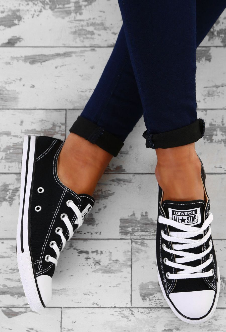 Chuck Taylor Converse All Star Dainty Ox Black Trainers - UK ...