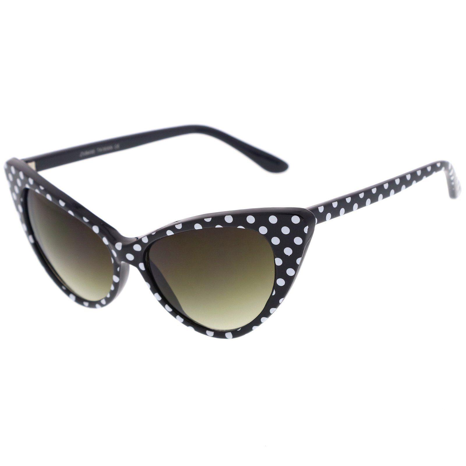 Women's Retro Polka Dot Oversize Cat Eye Sunglasses 50mm