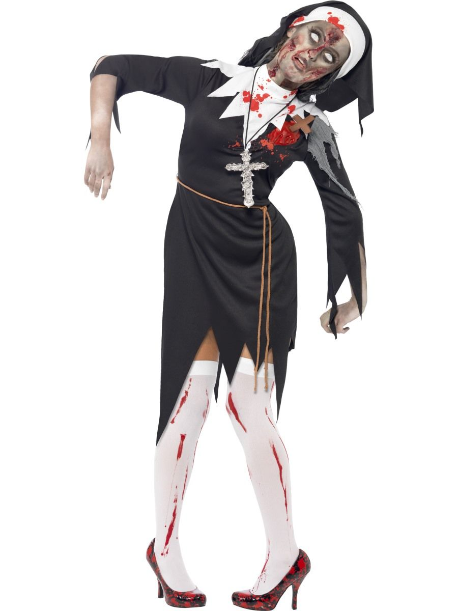 Zombie Nunna. Repaleinen nunna-asu veritahroineen.