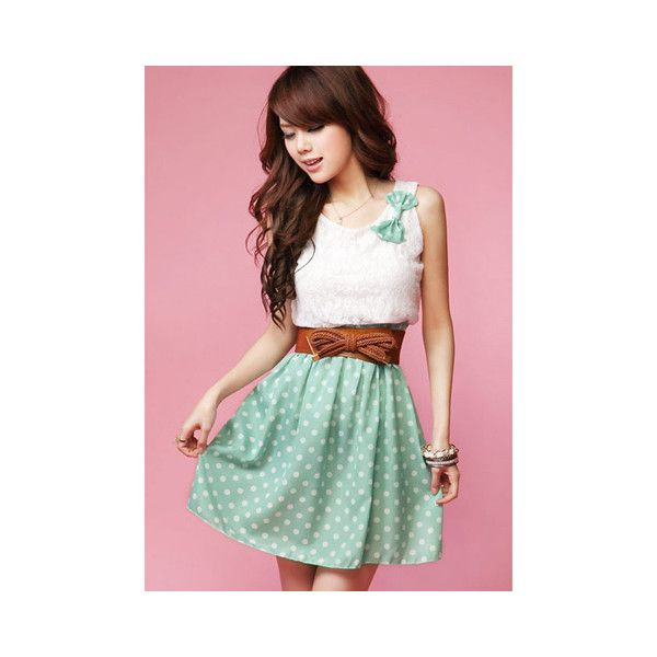 New Korean Fashion Style Polka Dot Sweet Lovely Mini Dress Orange... ($9.06) ❤ liked on Polyvore featuring light green