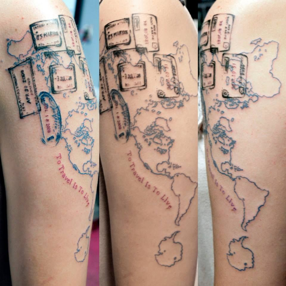 World map with passport stamps tattoo by ande rummel at for Tattoos in charlotte nc