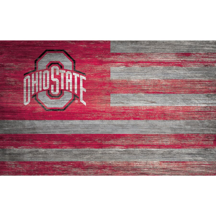 Ohio State Buckeyes 11'' x 19'' Distressed Flag Sign