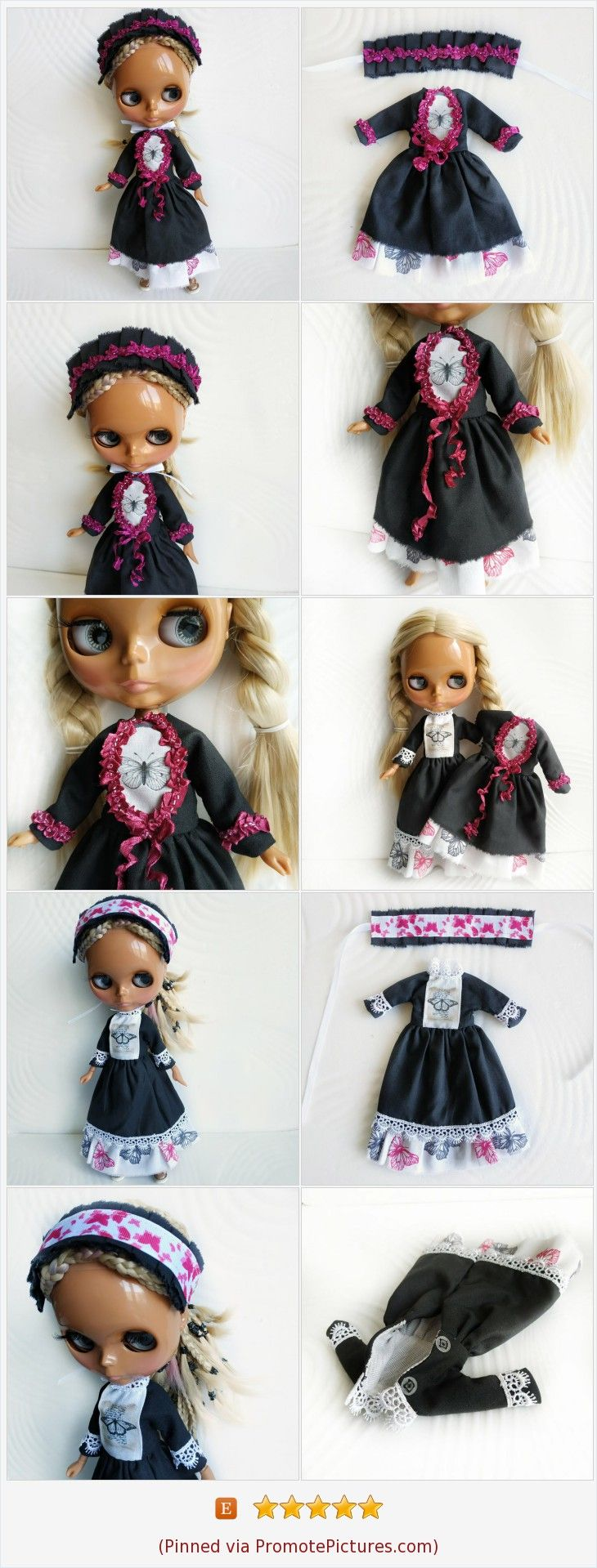 Blythe black long victorian dress and lace headband/ Azone doll gothic outfit set
