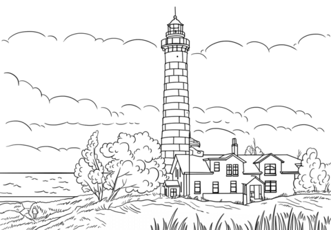 Big Sable Point Lighthouse Ludington Michigan Coloring Page Coloring Pages Free Printable Coloring Pages Lighthouse