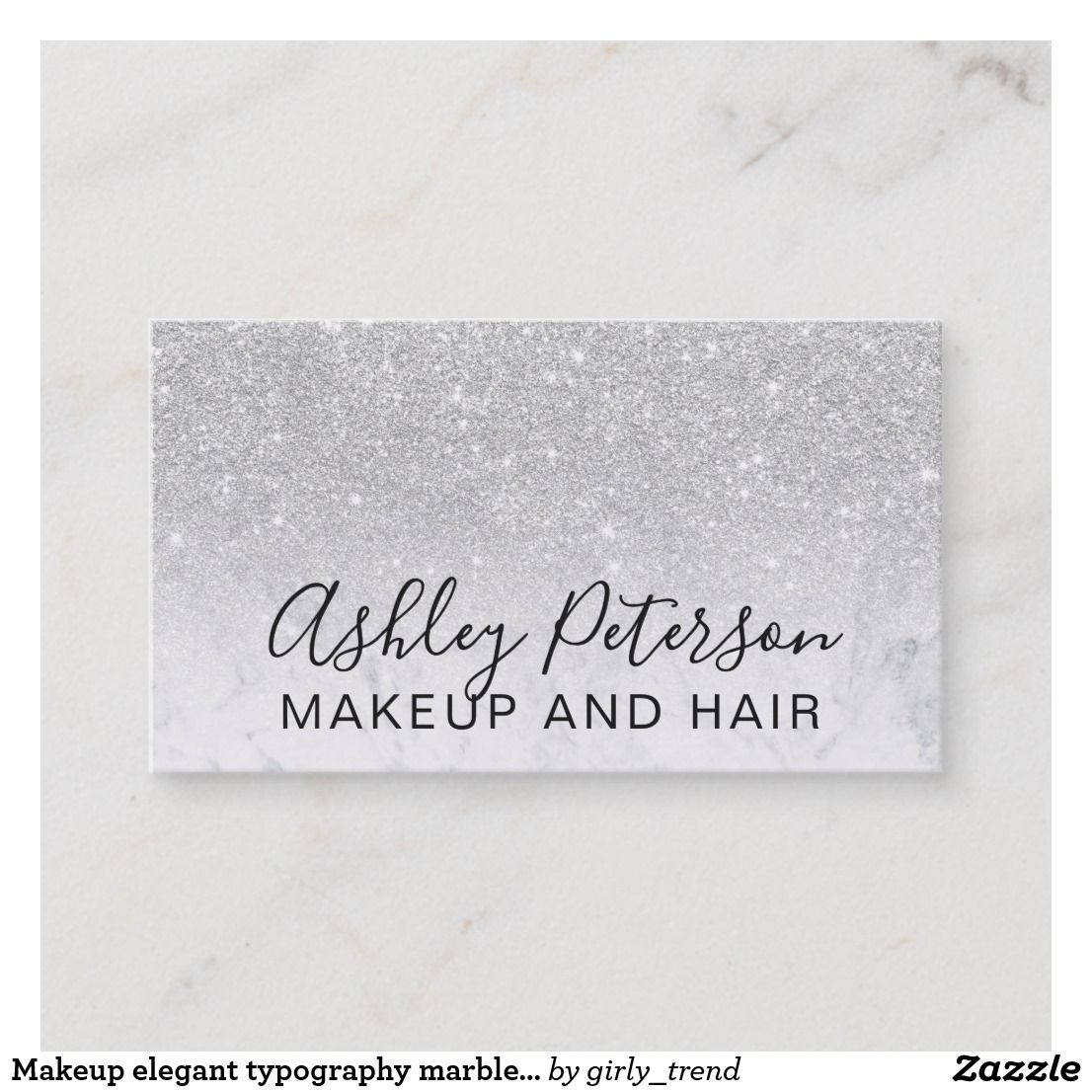Makeup Elegant Typography Marble Silver Glitter Business Card Zazzle Com Glitter Business Cards Business Card Typography Makeup Artist Business Cards