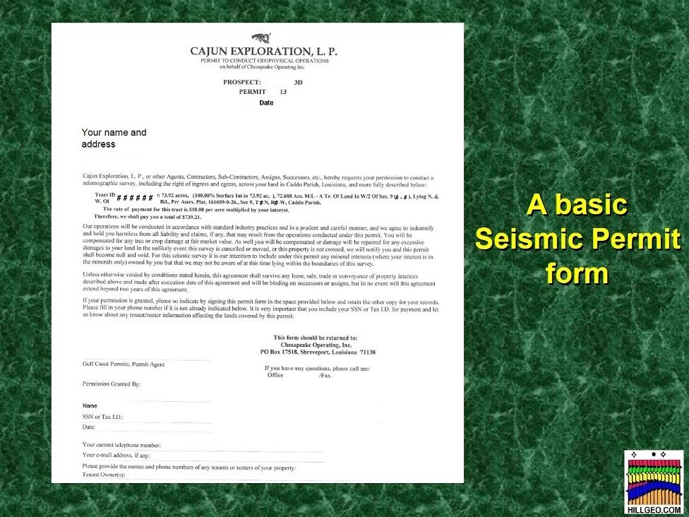 "P & L Form A Basic Seismic Permit Form ""requests Your Permission To Conduct A ."