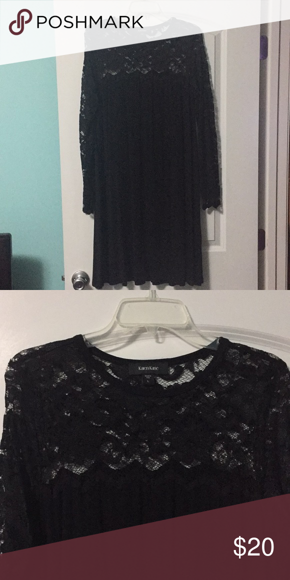 f1d68ad07b7 Black jersey swing dress Black knit swing dress with black lace yoke and  sleeves worn once excellent condition by Karen Kane Karen Kane Dresses Long  Sleeve