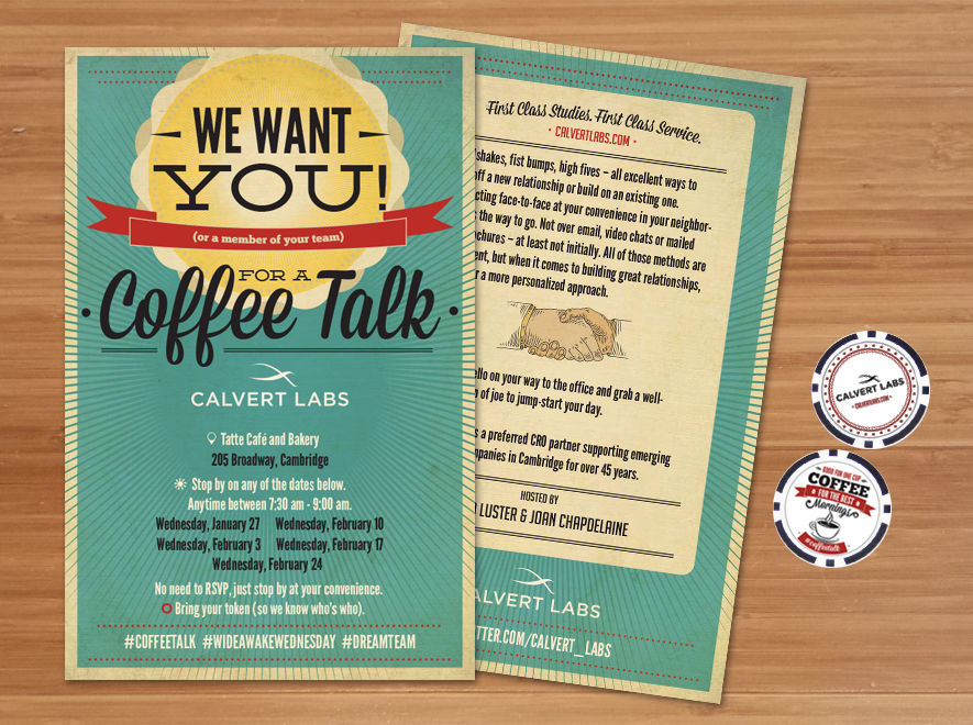 Fun and retro flyer and token design for coffee and meet n greet fun and retro flyer and token design for coffee and meet n greet m4hsunfo