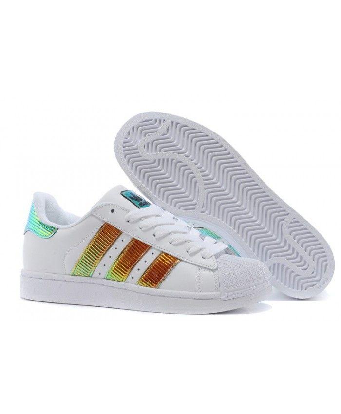 e21ae4157a55 Adidas Originals Classic Superstar Ss Bling Casual Blanche Brun Royal D65615