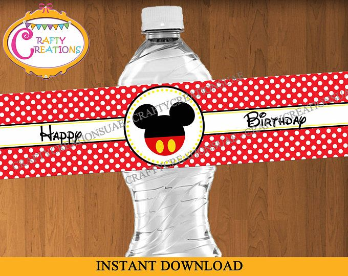 Mickey Mouse Water Bottle Labels - Printable Mickey Mouse Birthday Party labels - Water Bottle Wraps - INSTANT DOWNLOAD - CraftyCreationsUAE