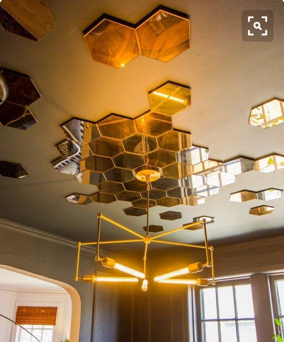 Honeycomb Easy Apply Mirrors On Ceiling To Reflect Light Mirror Decor Ceiling Rustic Traditional