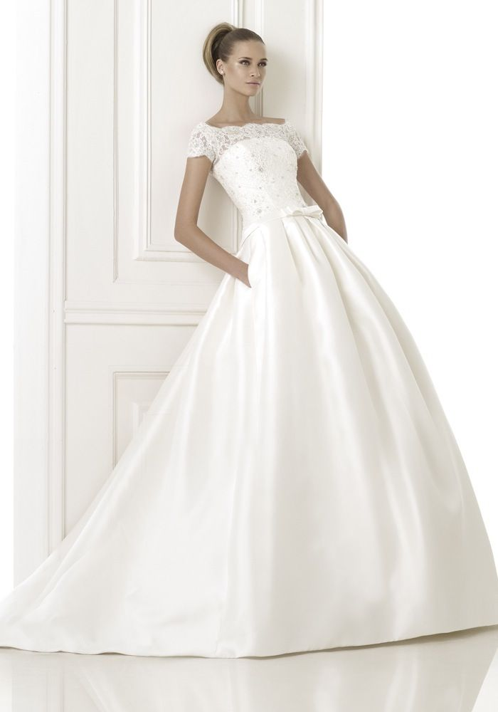 PRONOVIAS Off-The-Shoulder Princess Ball Gown in Mikado Silk An off ...