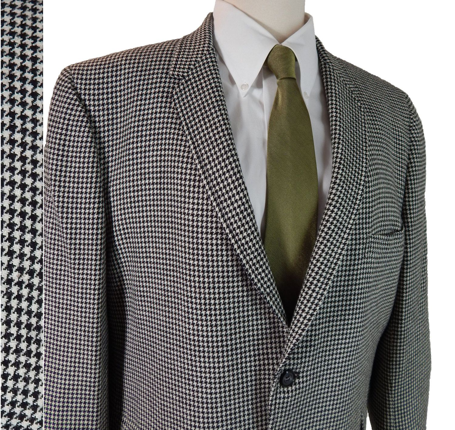 Vintage 1960s Mens Sport Coat // 60s Narrow Lapels Black and White ...