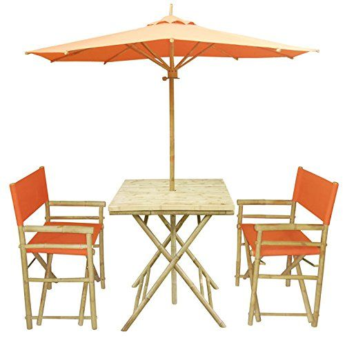 Zew 4 Piece Bamboo Outdoor Bistro Set With Square Table 2 Treated