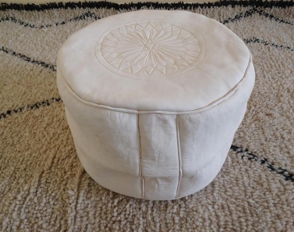 Moroccan Pouf Tabouret Leather Ottoman Unstuffed Pouffe Hassock Footstool White Handmade Traditional Leather Ottoman Moroccan Pouf Ottoman