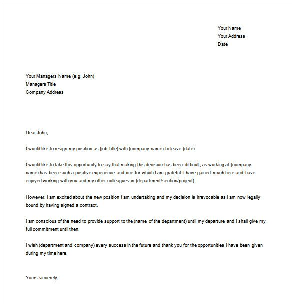 Example Resignation Letter For New Job Word Free Download  Projects