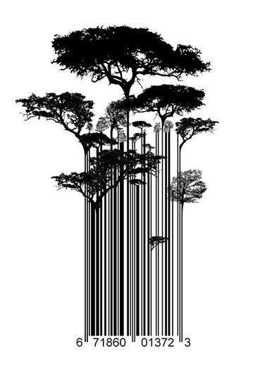 Straße Kunst Banksy Stil Barcode Bäumen Limitierterkunstdruck