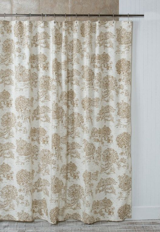 Brown Toile Shower Curtain with grommet top by SouthernTickingCo