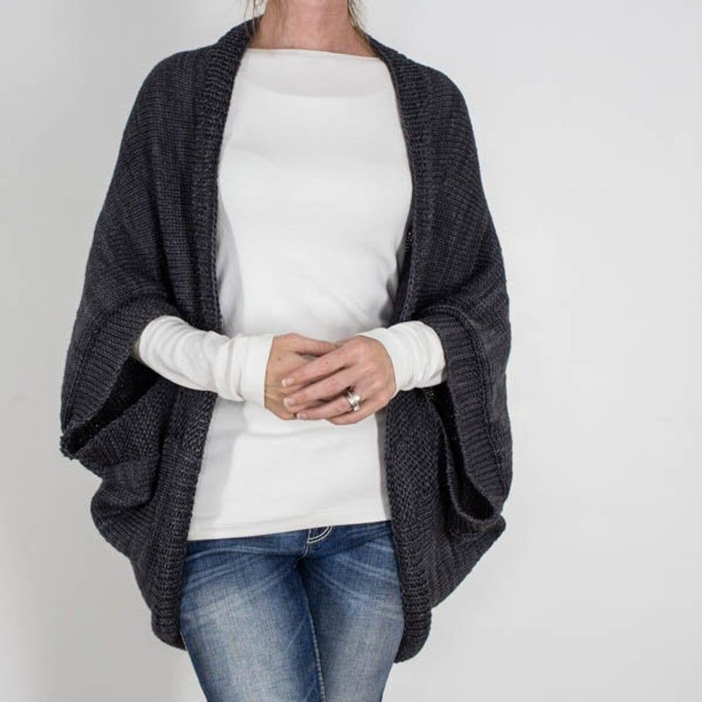 Photo of Knitting Pattern – Over-sized Scoop Sweater – Knit Cardigan – Knit Jacket – Knit Cocoon – Decisiveness Worsted – Brome Fields