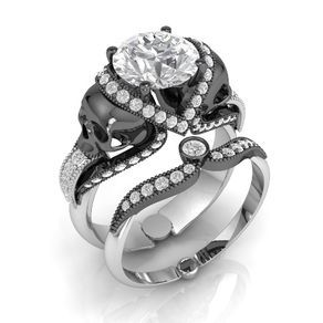 Skull Engagement Ring Solid Platinum With Black Skulls By Dr Tom Raspotnik