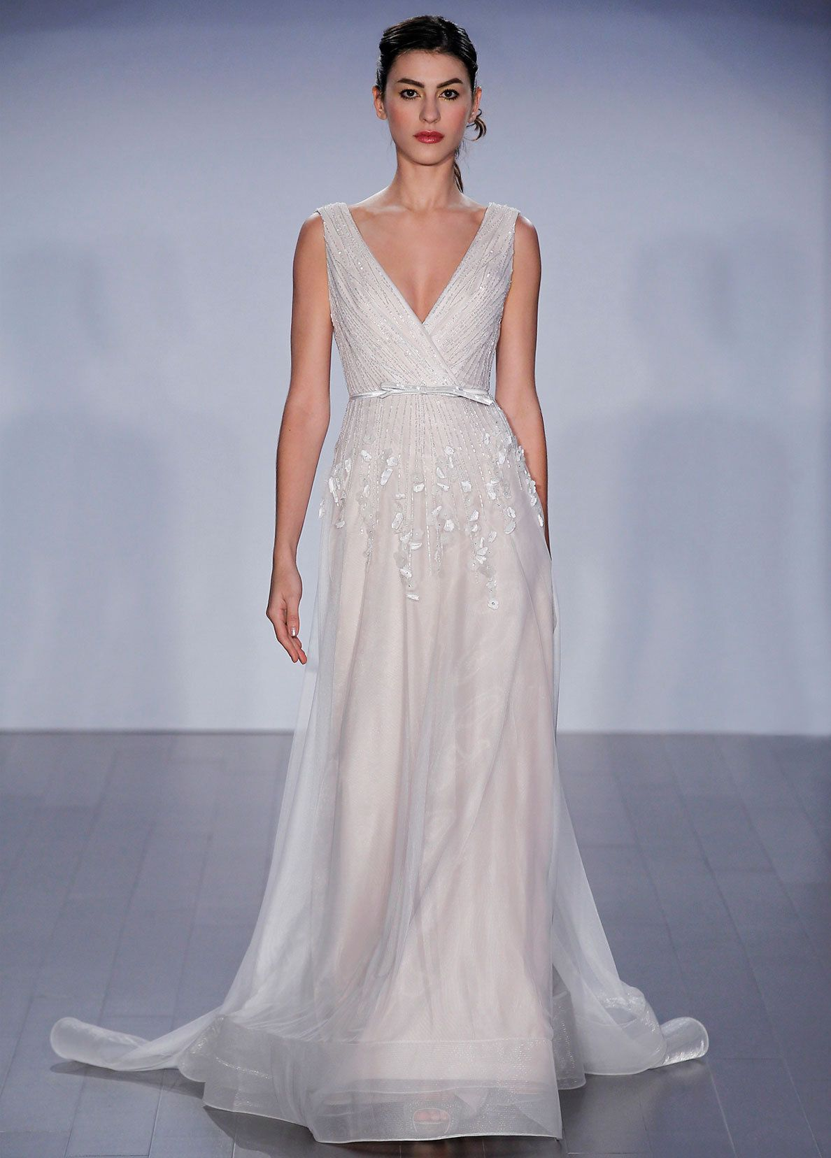 Ivory cashmere embroidered english net aline bridal silhouette v