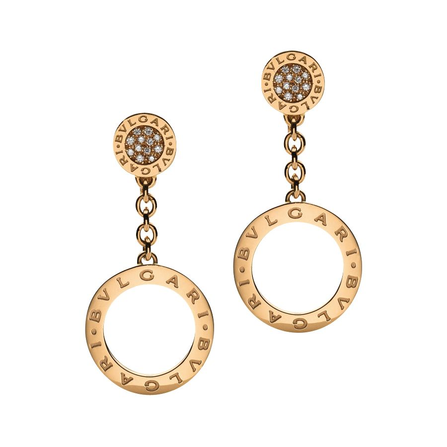 bulgari 18k pink gold u0026 diamond drop earrings
