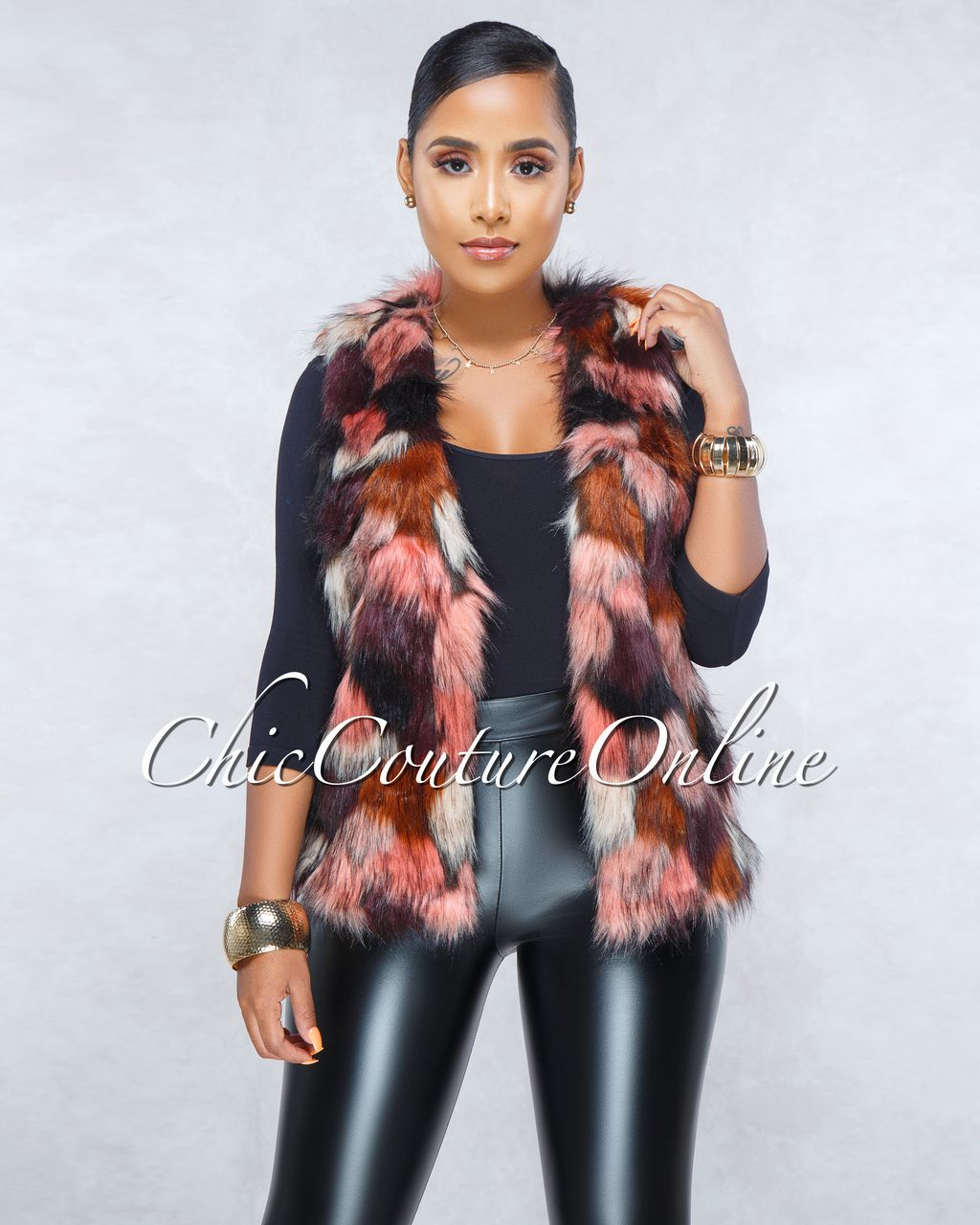 54ef0093711b Chic Couture Online - Dahan Salmon Multi-Color Faux Fury Vest ...