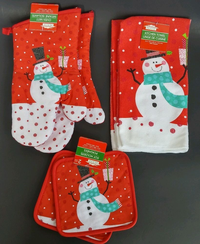 Christmas House Kitchen Towels Oven Mitts Pot Holders New 6pc Set