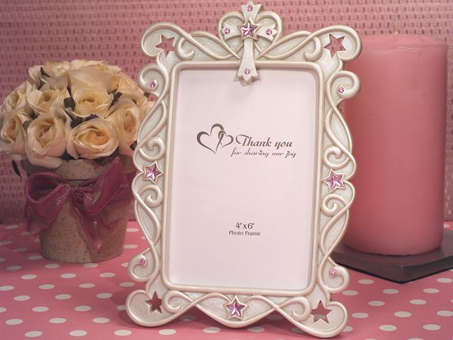 Blessed Events Cross Design Photo Frame With Pink Rhinestone
