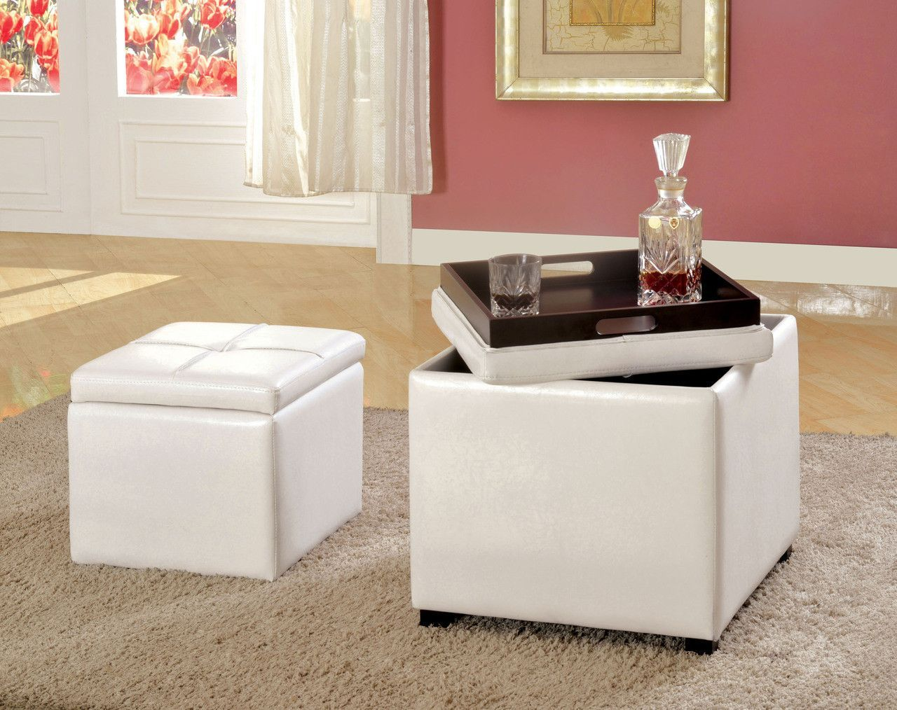 Ottoman W Flip Top Tray Adel Collection This Unique E Effi Cient Design Off Ers Two Ottomans For The Size Of One A Second Smaller