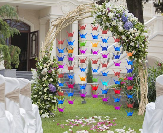 Non Traditional Wedding Ceremony Decoration With Origami Cranes