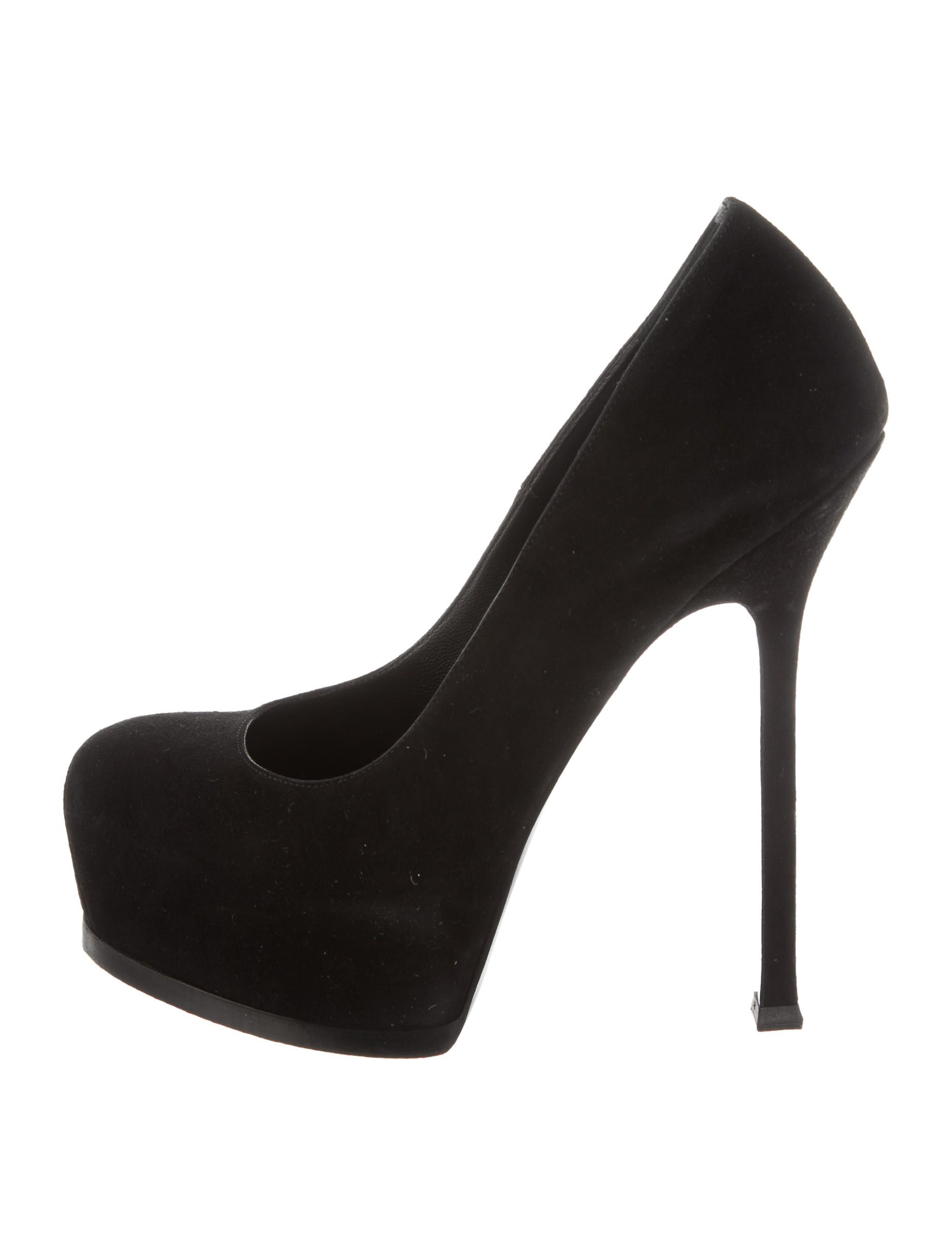 ffa0b4445485 Black suede Yves Saint Laurent Tribute platform pumps with tonal stitching  and covered heels. Includes box and dust bag.