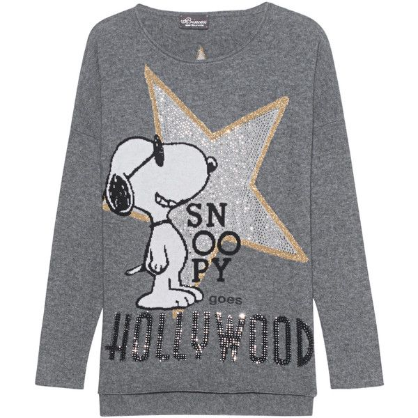 Princess Goes Hollywood Snoopy Star Anthracite Wool Cashmere 315 Liked On Polyvore Featuring Tops Woolen Sweaters Sparkle Sweater Loose Fitting Tops