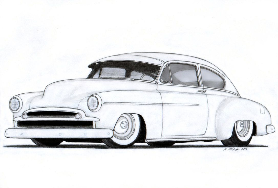 Line Drawing of old cars | ... Fleetline Custom Coupe Drawing by ...