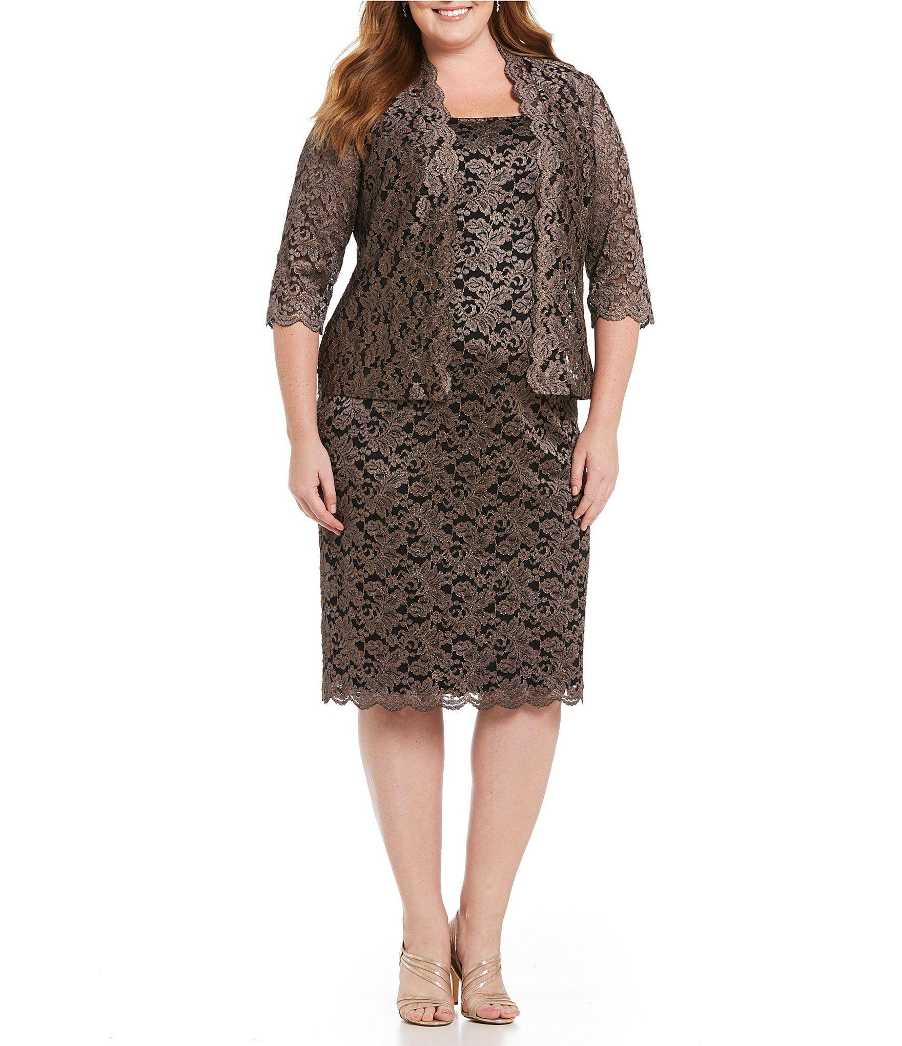 b6e509f535 Shop for Alex Evenings Plus Metallic Lace 2-Piece Jacket Dress at ...