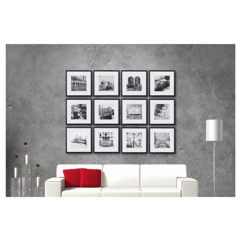 12pc 12 X 12 Black Frame Kit Matted To 7 5 X 7 5 Gallery Perfect Picture Frame Wall Gallery Wall Kit Gallery Wall Picture Frames