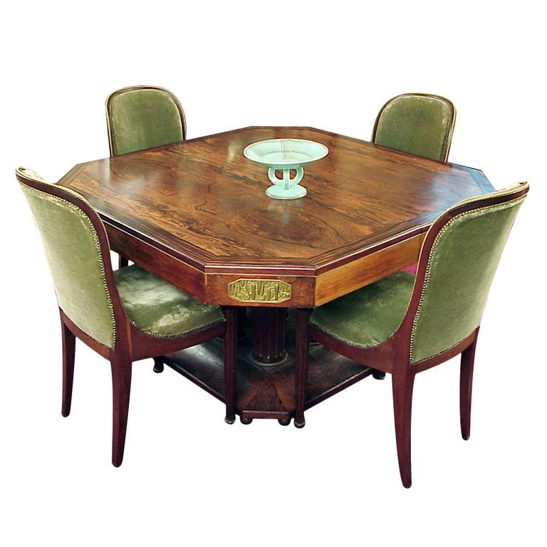 French Art Deco Rosewood Macassar Dining Set Maison Bellon From