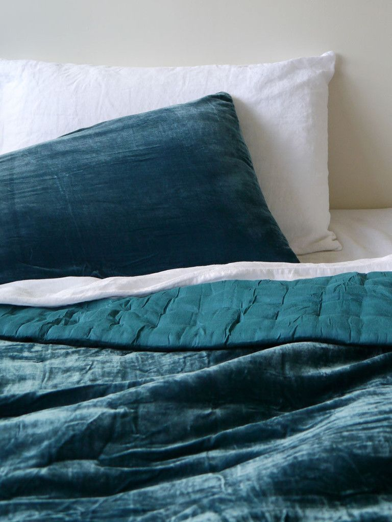 Teal Silk Velvet Quilt   Collect Living
