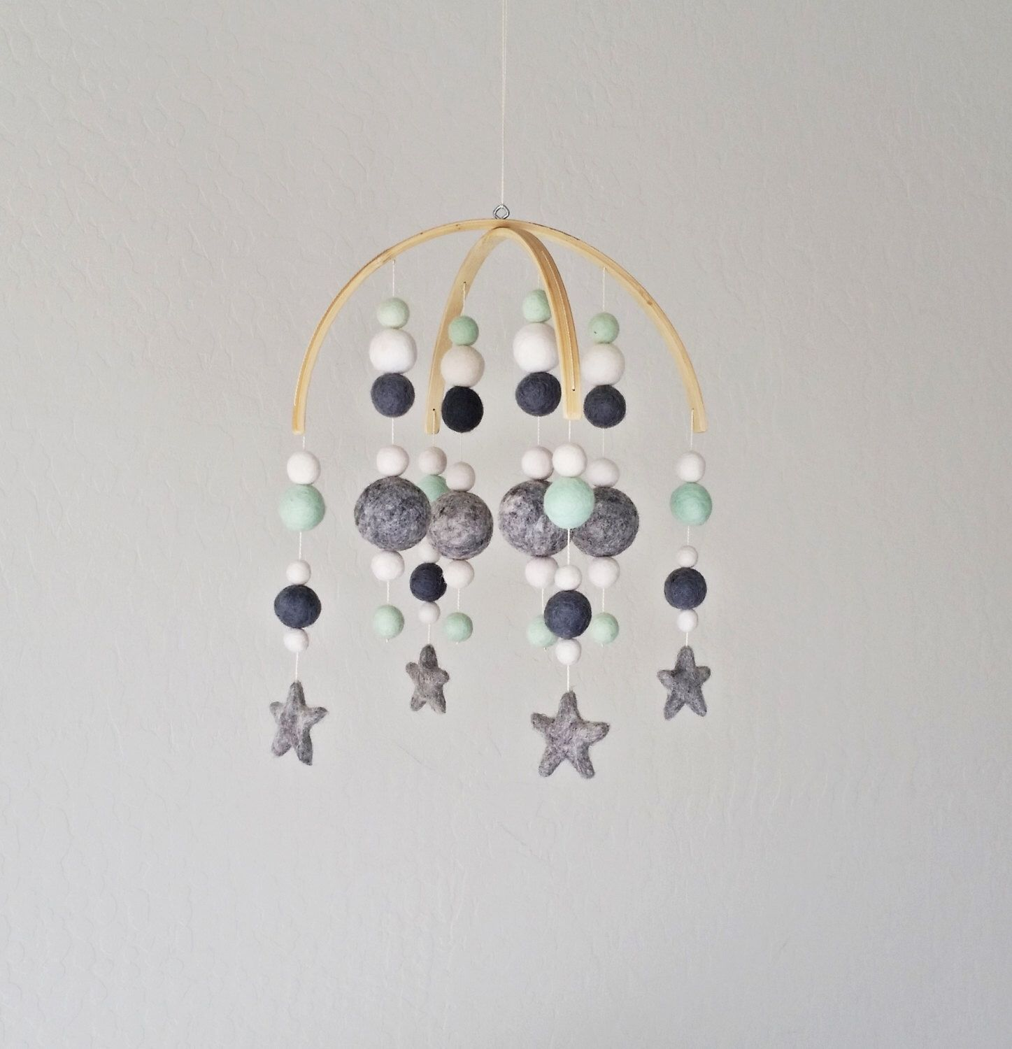 baby mobile  twinkle little star mobile  baby mobile felt star  - mint and gray modern baby mobile felt ball baby mobile felted star mobile