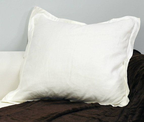 Euro Sham Covers With Flange 100 Linen Accented Pillow Covers
