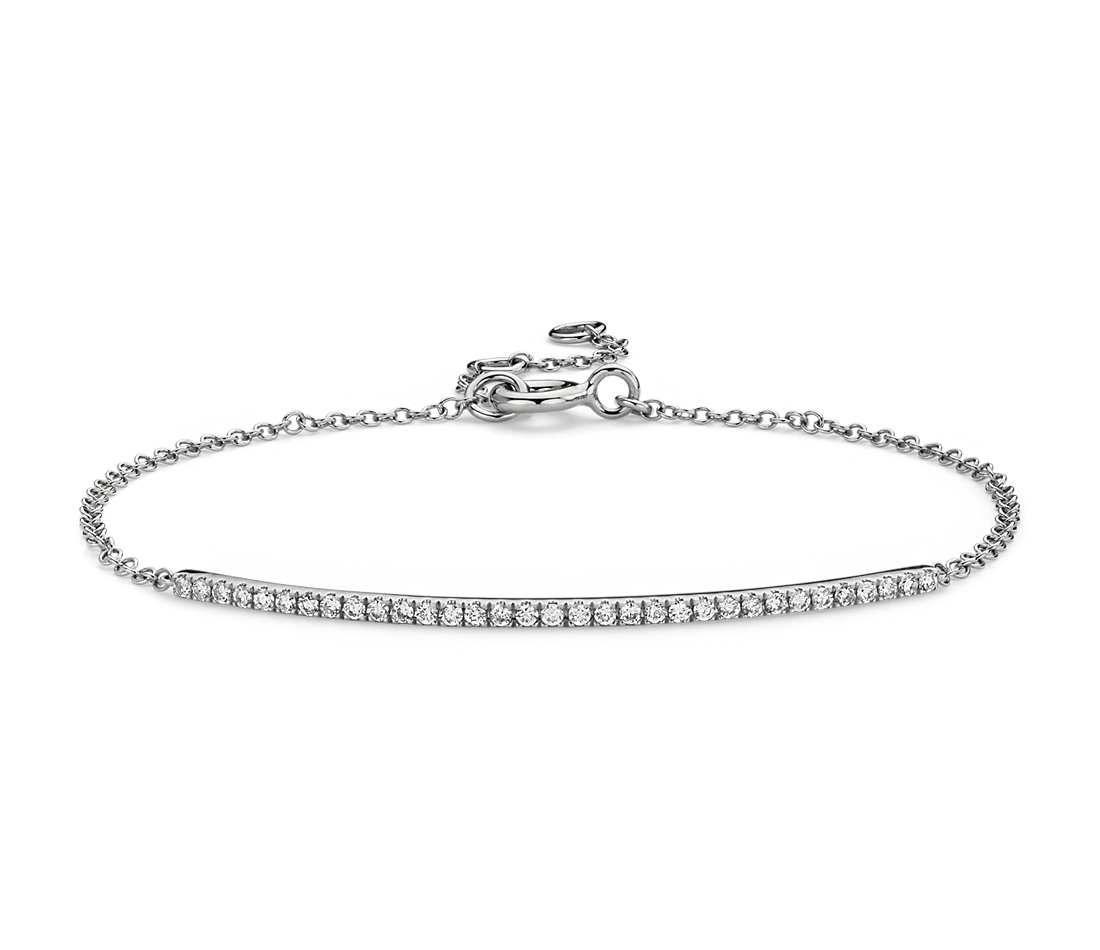 Blue Nile Petite Ruby and Diamond Bar Bracelet in 14k White Gold WNcnaHr