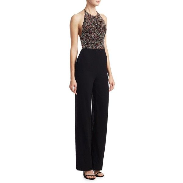 ML Monique Lhuillier Beaded Halter Jumpsuit (2,785 HKD) ❤ liked on Polyvore  featuring jumpsuits