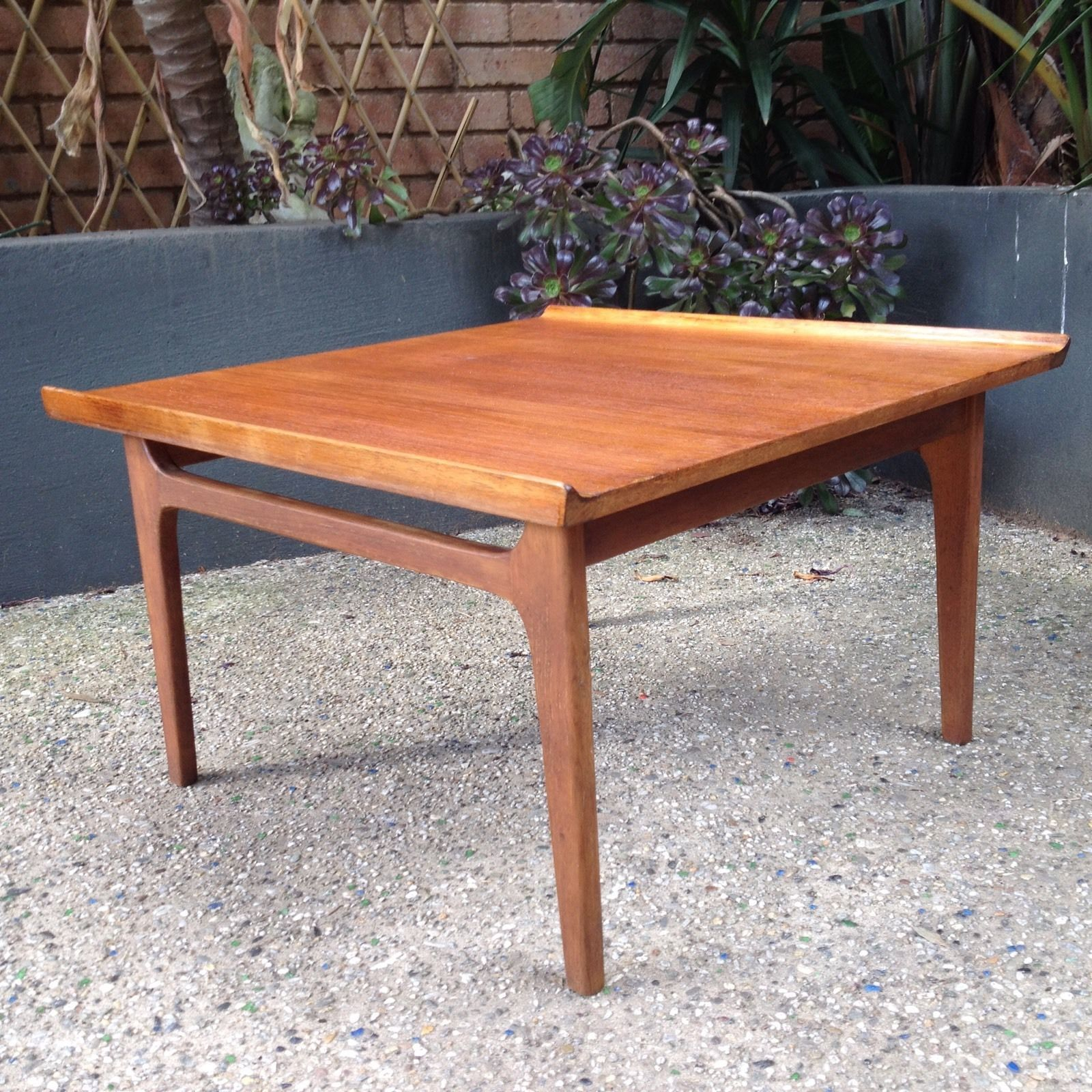 Coffee Table Teak 1960 s Danish Style Lipped Edge Square Vintage
