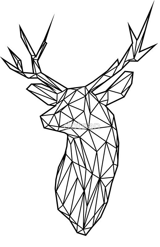 Black Wire Faceted Stag Trophy Head Art Print By Dotsan