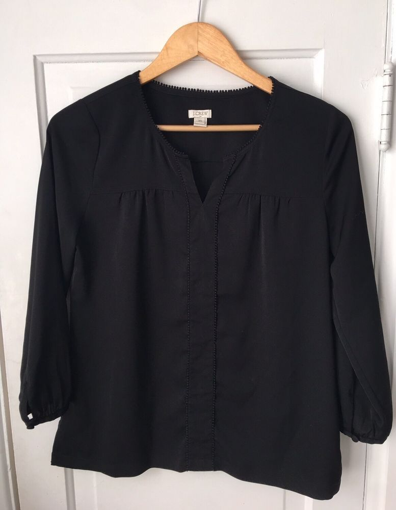 Women s J. Crew Factory Peasant Top with Pom Pom Trim in black. Size XS.  Missing one tiny pompom along the front. Sleeve  20