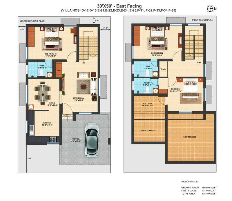 Precious 11 duplex house plans for 30x50 site east facing for Duplex plans with cost to build