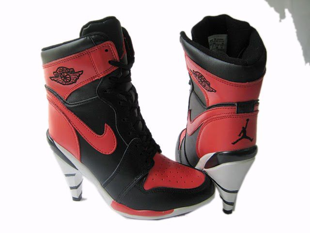 Cheap Air Jordan 1 high heels black red | Nike high heels