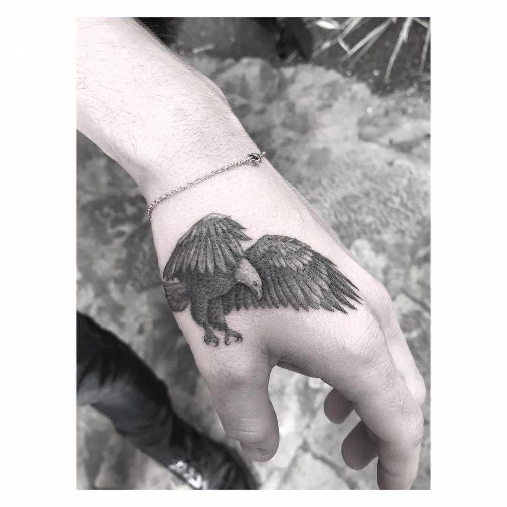 Single Needle Eagle Tattoo On Brooklyn Beckham S Left Hand