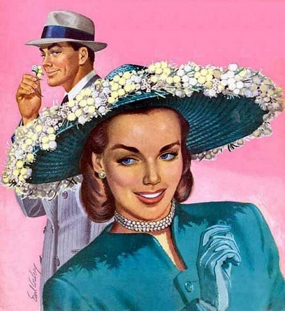 Mutual Attraction ~ Earl Cordrey, 1948 He seems to like the flower more than the girl. Needs more therapeutic research.